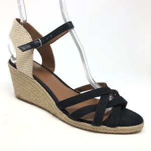 Lucky Brand Strappy Wedges Espadrille Black sz 10